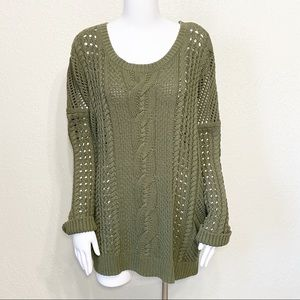 Express Chunky Open Knit Olive Sweater